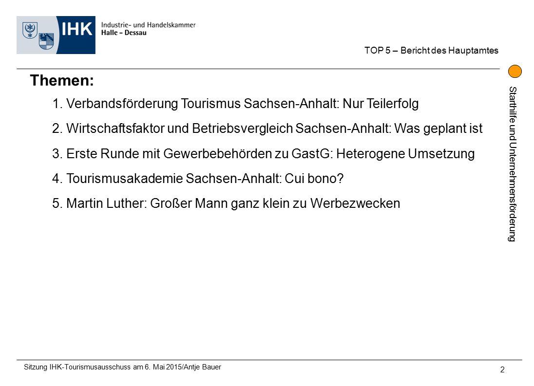 Starthilfe und Unternehmensförderung TOP 5 – Bericht des Hauptamtes Sitzung IHK-Tourismusausschuss am 6.