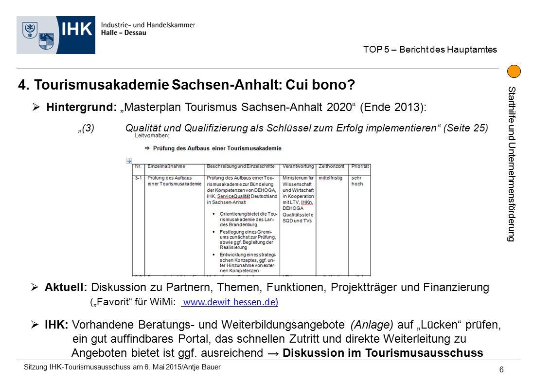 Starthilfe und Unternehmensförderung 4. Tourismusakademie Sachsen-Anhalt: Cui bono.