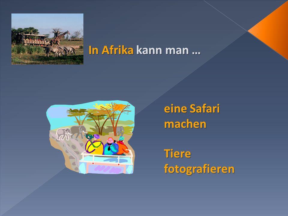 In Afrika kann man … Tiere fotografieren eine Safari machen