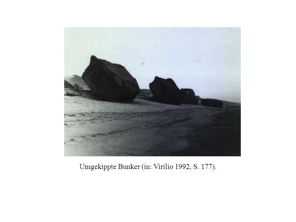 Umgekippte Bunker (in: Virilio 1992, S. 177).