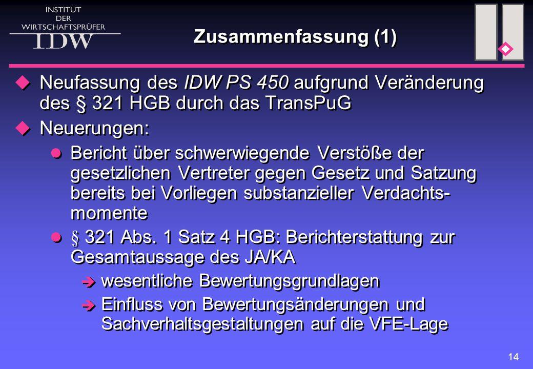 14 Zusammenfassung (1)  Neufassung des IDW PS 450 aufgrund Veränderung des § 321 HGB durch das TransPuG  Neuerungen: Bericht über schwerwiegende Ver