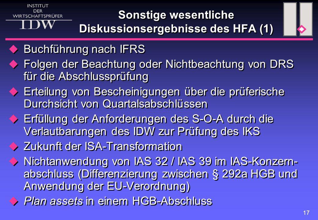17 Sonstige wesentliche Diskussionsergebnisse des HFA (1)  Buchführung nach IFRS  Folgen der Beachtung oder Nichtbeachtung von DRS für die Abschluss
