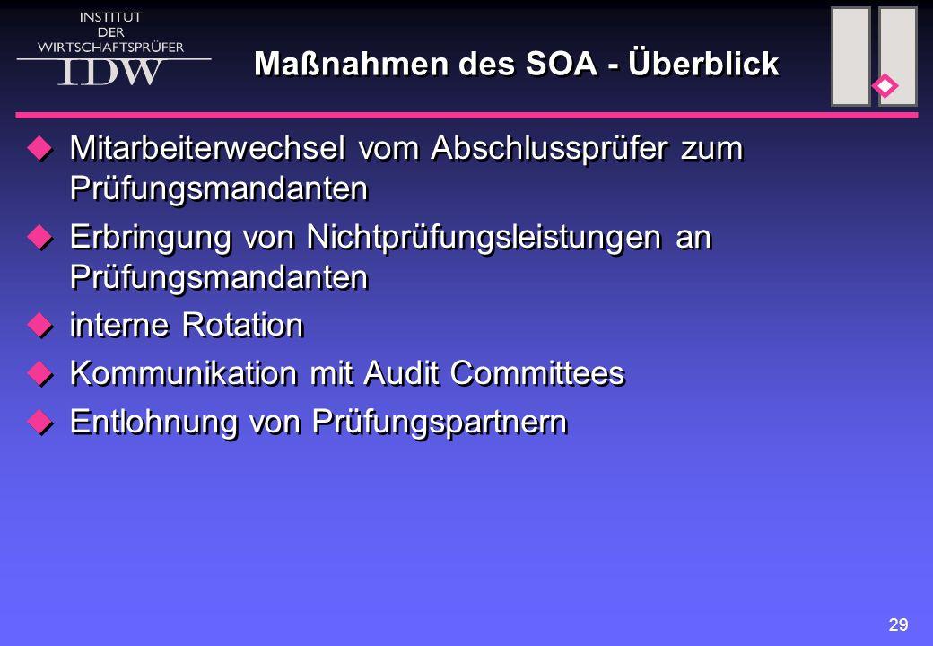 29 Maßnahmen des SOA - Überblick  Mitarbeiterwechsel vom Abschlussprüfer zum Prüfungsmandanten  Erbringung von Nichtprüfungsleistungen an Prüfungsma