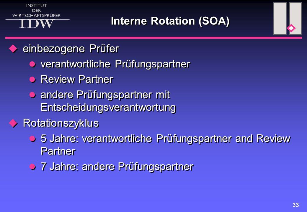 33 Interne Rotation (SOA)  einbezogene Prüfer verantwortliche Prüfungspartner Review Partner andere Prüfungspartner mit Entscheidungsverantwortung 