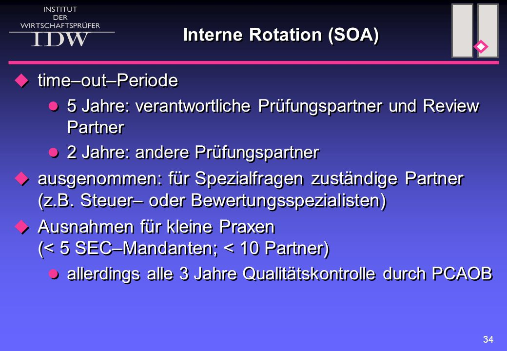 34 Interne Rotation (SOA)  time–out–Periode 5 Jahre: verantwortliche Prüfungspartner und Review Partner 2 Jahre: andere Prüfungspartner  ausgenommen