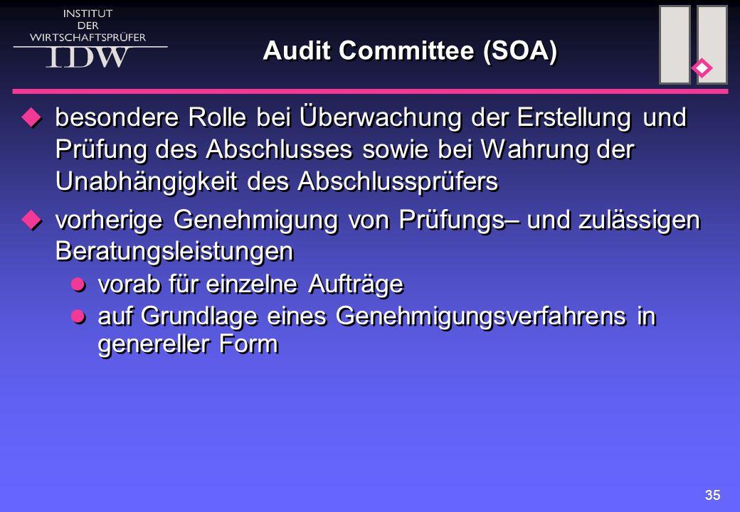 35 Audit Committee (SOA)  besondere Rolle bei Überwachung der Erstellung und Prüfung des Abschlusses sowie bei Wahrung der Unabhängigkeit des Abschlu