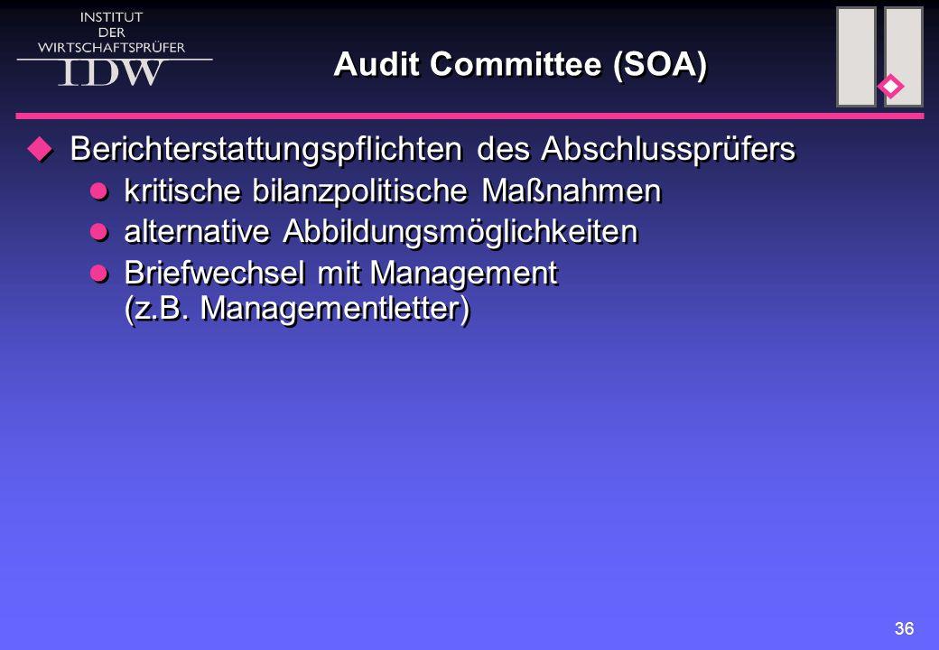 36 Audit Committee (SOA)  Berichterstattungspflichten des Abschlussprüfers kritische bilanzpolitische Maßnahmen alternative Abbildungsmöglichkeiten B