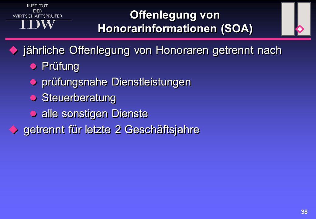 38 Offenlegung von Honorarinformationen (SOA)  jährliche Offenlegung von Honoraren getrennt nach Prüfung prüfungsnahe Dienstleistungen Steuerberatung