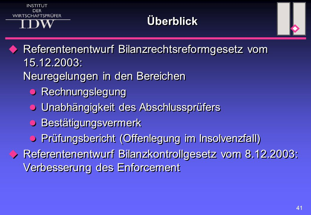 41 Überblick  Referentenentwurf Bilanzrechtsreformgesetz vom 15.12.2003: Neuregelungen in den Bereichen Rechnungslegung Unabhängigkeit des Abschlussp
