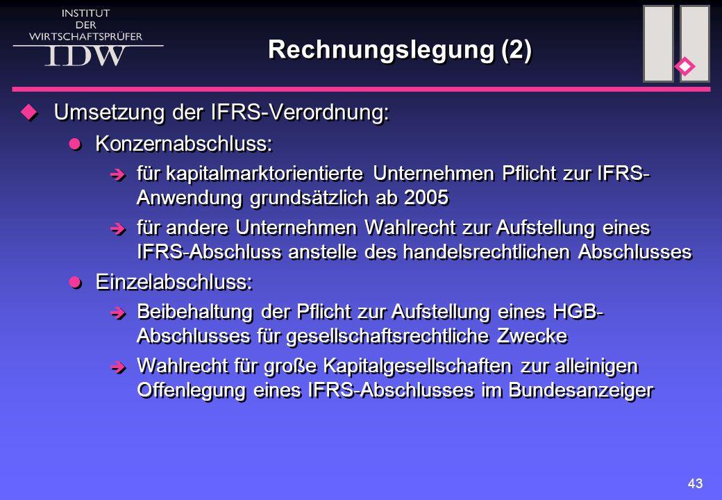 43 Rechnungslegung (2)  Umsetzung der IFRS-Verordnung: Konzernabschluss:  für kapitalmarktorientierte Unternehmen Pflicht zur IFRS- Anwendung grunds