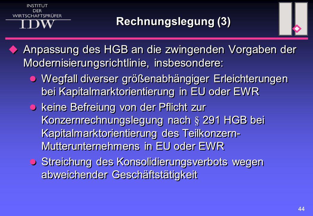 44 Rechnungslegung (3)  Anpassung des HGB an die zwingenden Vorgaben der Modernisierungsrichtlinie, insbesondere: Wegfall diverser größenabhängiger E