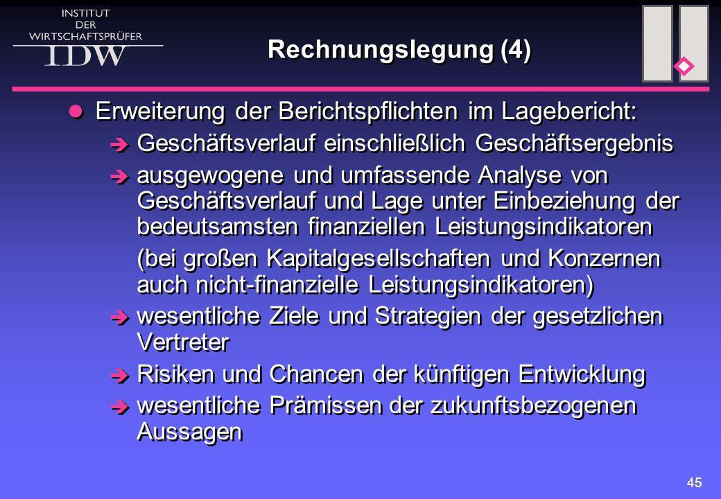 45 Rechnungslegung (4) Erweiterung der Berichtspflichten im Lagebericht:  Geschäftsverlauf einschließlich Geschäftsergebnis  ausgewogene und umfasse