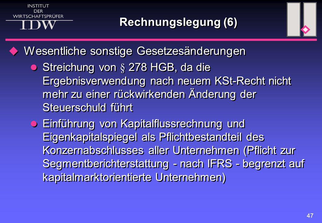 47 Rechnungslegung (6)  Wesentliche sonstige Gesetzesänderungen Streichung von § 278 HGB, da die Ergebnisverwendung nach neuem KSt-Recht nicht mehr z