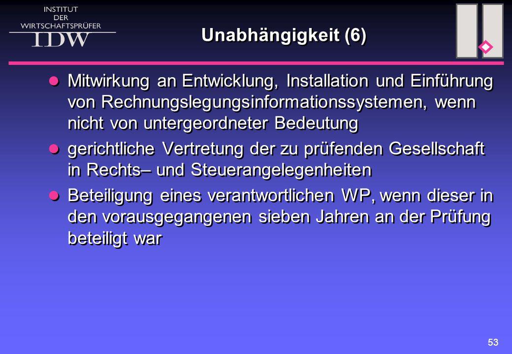 53 Unabhängigkeit (6) Mitwirkung an Entwicklung, Installation und Einführung von Rechnungslegungsinformationssystemen, wenn nicht von untergeordneter
