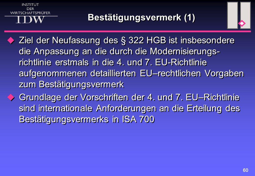 60 Bestätigungsvermerk (1)  Ziel der Neufassung des § 322 HGB ist insbesondere die Anpassung an die durch die Modernisierungs- richtlinie erstmals in