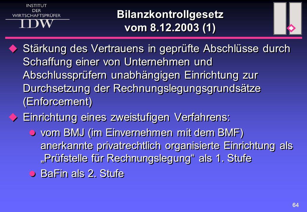 64 Bilanzkontrollgesetz vom 8.12.2003 (1)  Stärkung des Vertrauens in geprüfte Abschlüsse durch Schaffung einer von Unternehmen und Abschlussprüfern
