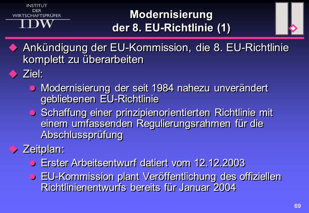 69 Modernisierung der 8. EU-Richtlinie (1)  Ankündigung der EU-Kommission, die 8. EU-Richtlinie komplett zu überarbeiten  Ziel: Modernisierung der s