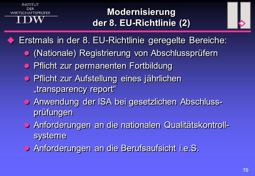 70 Modernisierung der 8. EU-Richtlinie (2)  Erstmals in der 8. EU-Richtlinie geregelte Bereiche: (Nationale) Registrierung von Abschlussprüfern Pflic