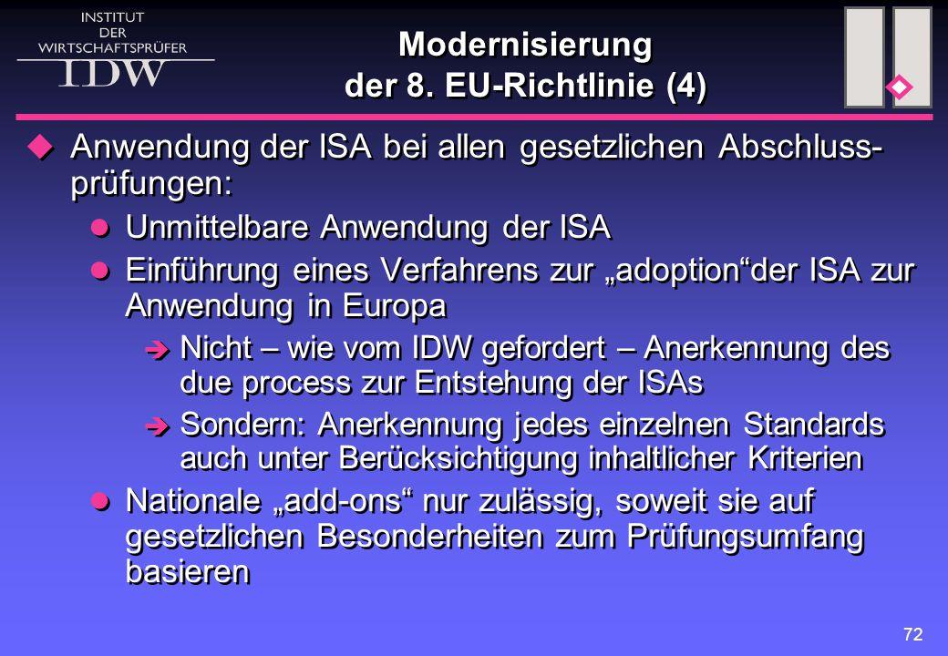 72 Modernisierung der 8. EU-Richtlinie (4)  Anwendung der ISA bei allen gesetzlichen Abschluss- prüfungen: Unmittelbare Anwendung der ISA Einführung