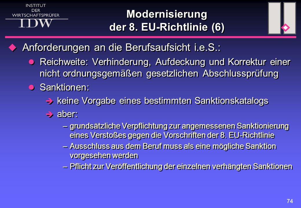 74 Modernisierung der 8. EU-Richtlinie (6)  Anforderungen an die Berufsaufsicht i.e.S.: Reichweite: Verhinderung, Aufdeckung und Korrektur einer nich