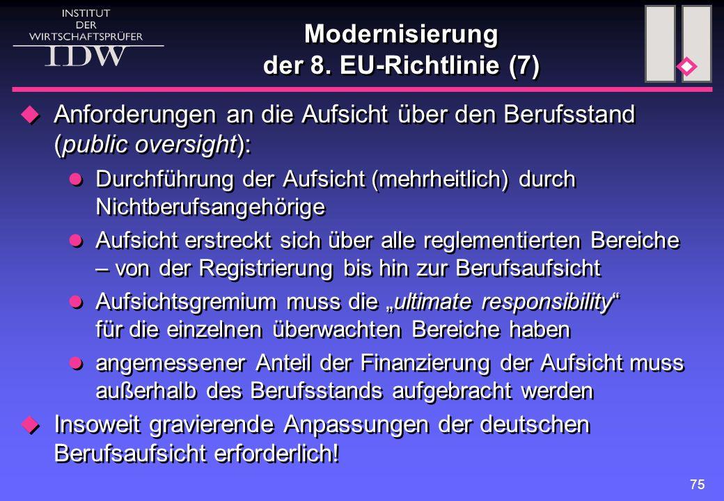 75 Modernisierung der 8. EU-Richtlinie (7)  Anforderungen an die Aufsicht über den Berufsstand (public oversight): Durchführung der Aufsicht (mehrhei