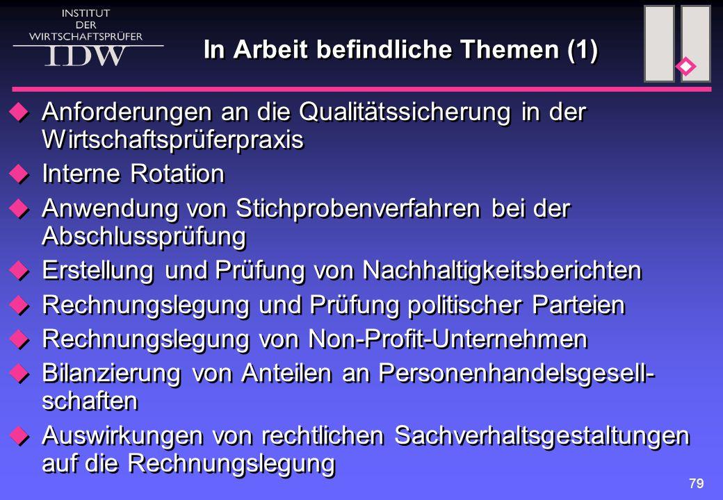 79 In Arbeit befindliche Themen (1)  Anforderungen an die Qualitätssicherung in der Wirtschaftsprüferpraxis  Interne Rotation  Anwendung von Stichp