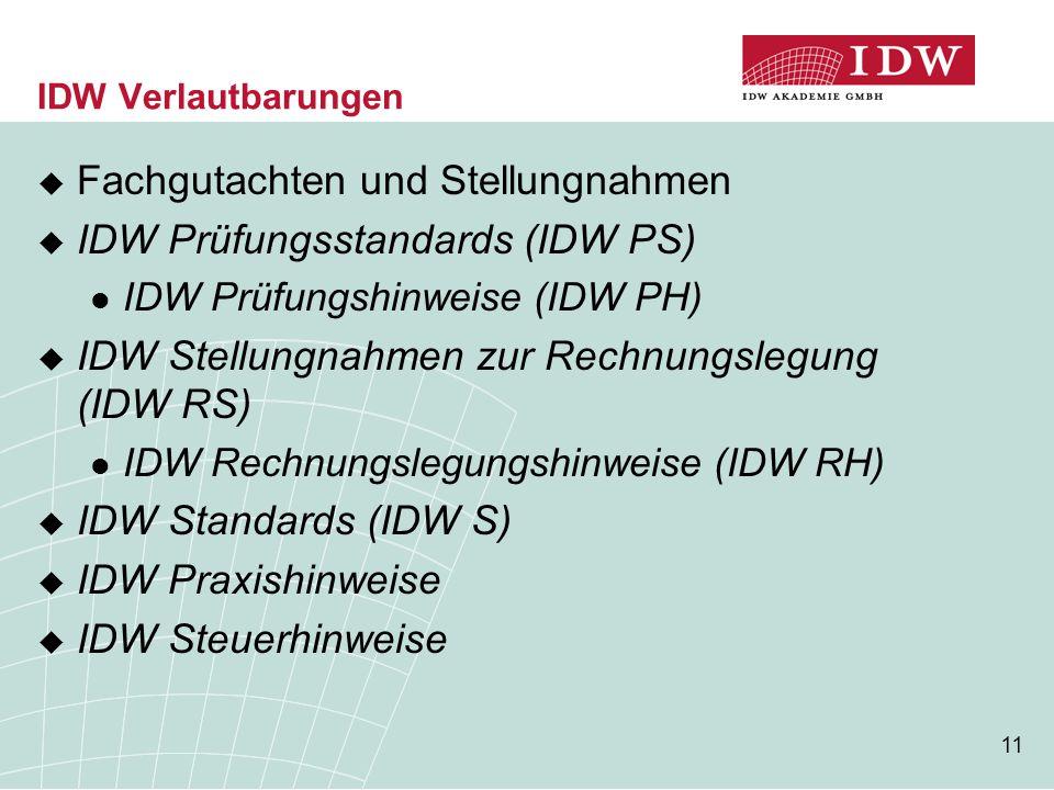 11 IDW Verlautbarungen  Fachgutachten und Stellungnahmen  IDW Prüfungsstandards (IDW PS) IDW Prüfungshinweise (IDW PH)  IDW Stellungnahmen zur Rechnungslegung (IDW RS) IDW Rechnungslegungshinweise (IDW RH)  IDW Standards (IDW S)  IDW Praxishinweise  IDW Steuerhinweise