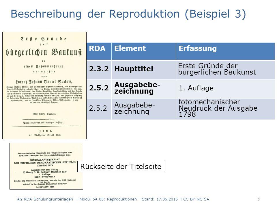9 RDAElementErfassung 2.3.2Haupttitel Erste Gründe der bürgerlichen Baukunst 2.5.2 Ausgabebe- zeichnung 1.