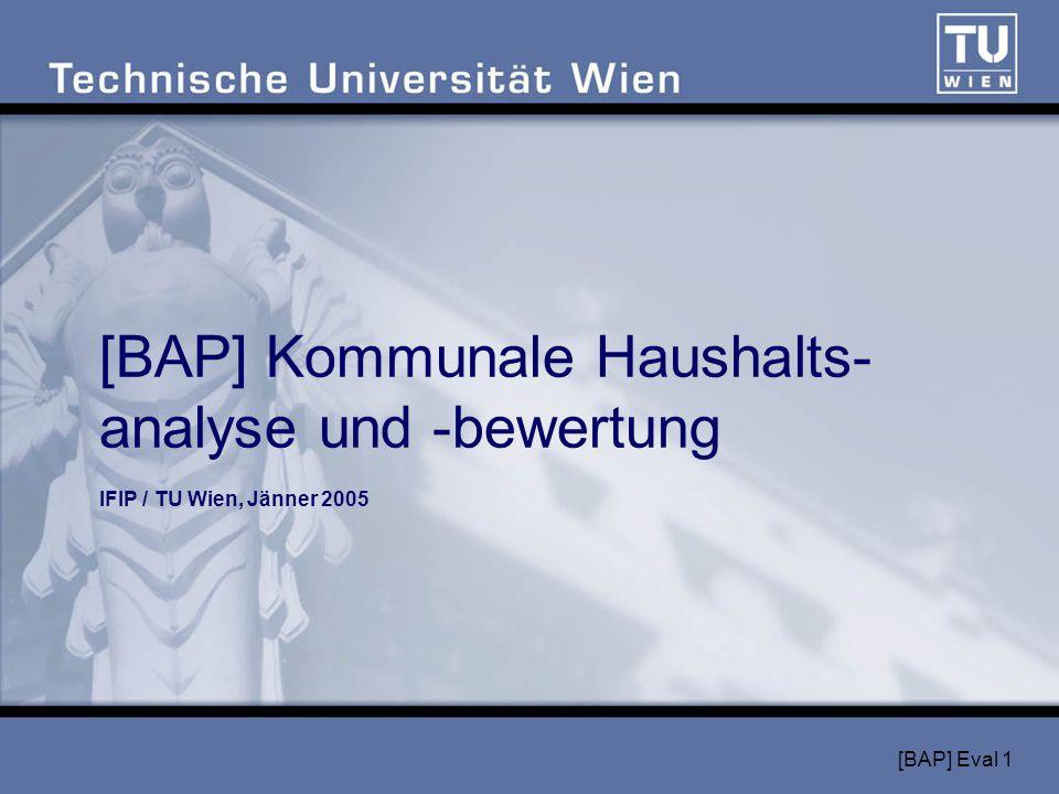 [BAP] Eval 1 [BAP] Kommunale Haushalts- analyse und -bewertung IFIP / TU Wien, Jänner 2005