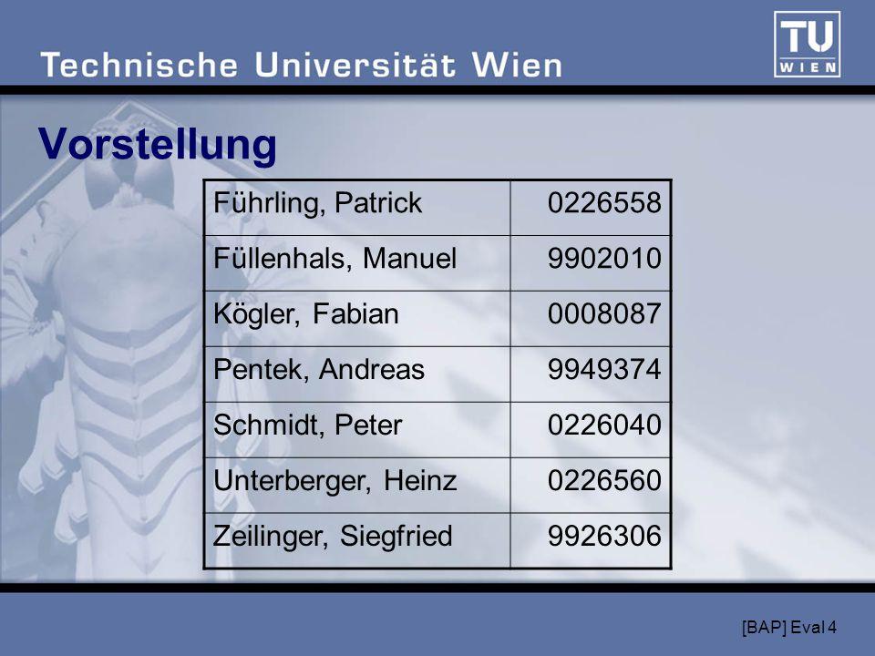 [BAP] Eval 4 Vorstellung Führling, Patrick0226558 Füllenhals, Manuel9902010 Kögler, Fabian0008087 Pentek, Andreas9949374 Schmidt, Peter0226040 Unterberger, Heinz0226560 Zeilinger, Siegfried9926306