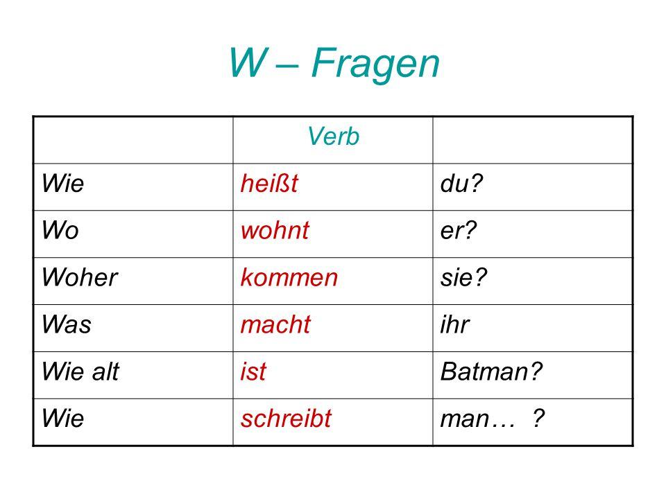 W – Fragen Verb Wieheißtdu.Wowohnter. Woherkommensie.