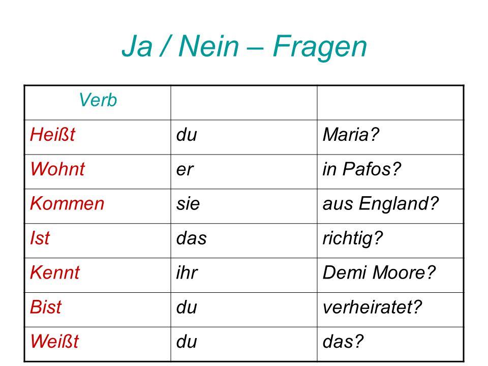 Ja / Nein – Fragen Verb HeißtduMaria.Wohnterin Pafos.