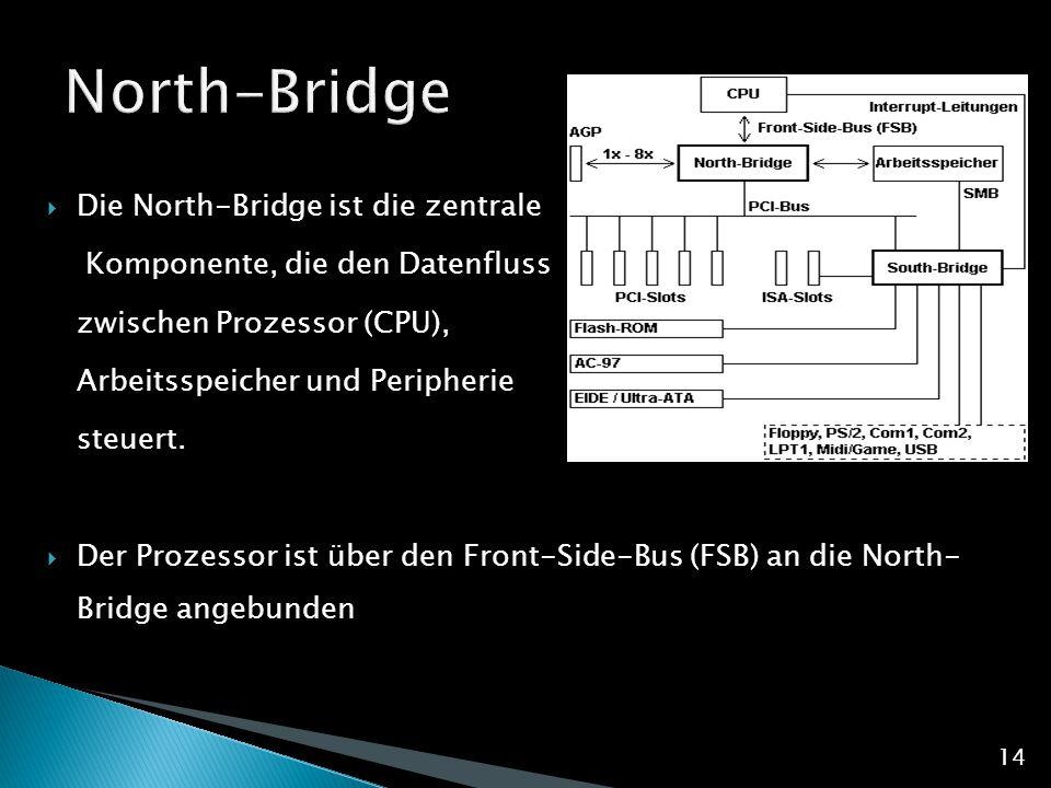  Die North-Bridge ist die zentrale Komponente, die den Datenfluss zwischen Prozessor (CPU), Arbeitsspeicher und Peripherie steuert.