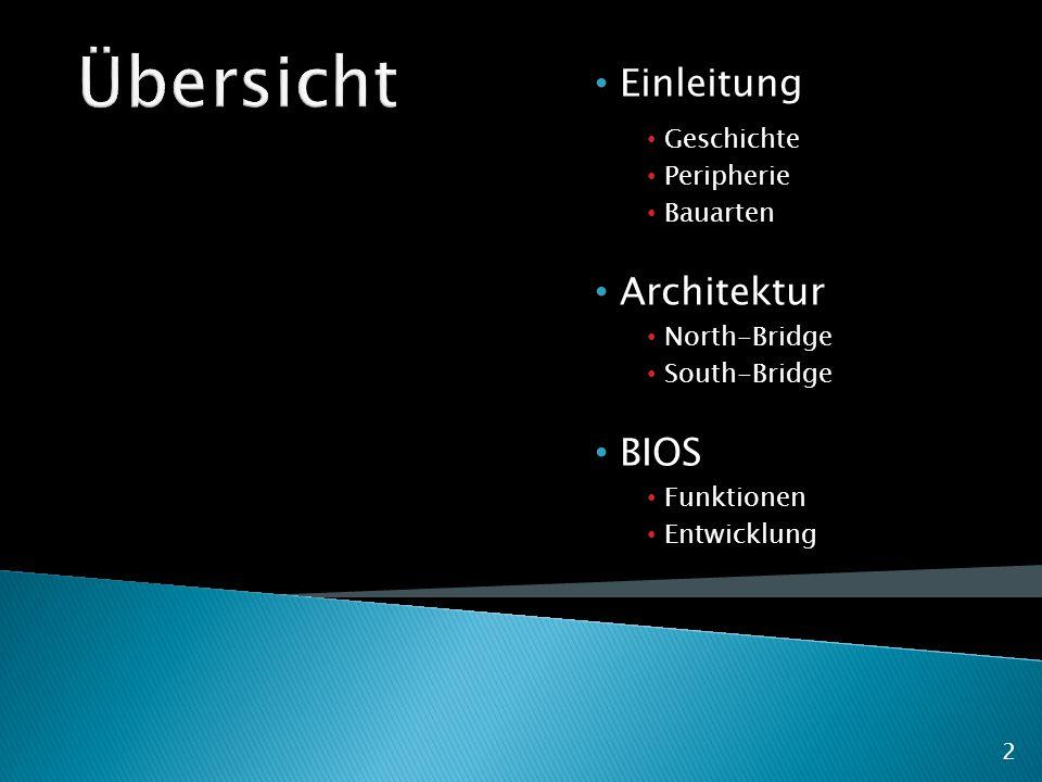 Einleitung Geschichte Peripherie Bauarten Architektur North-Bridge South-Bridge BIOS Funktionen Entwicklung 2