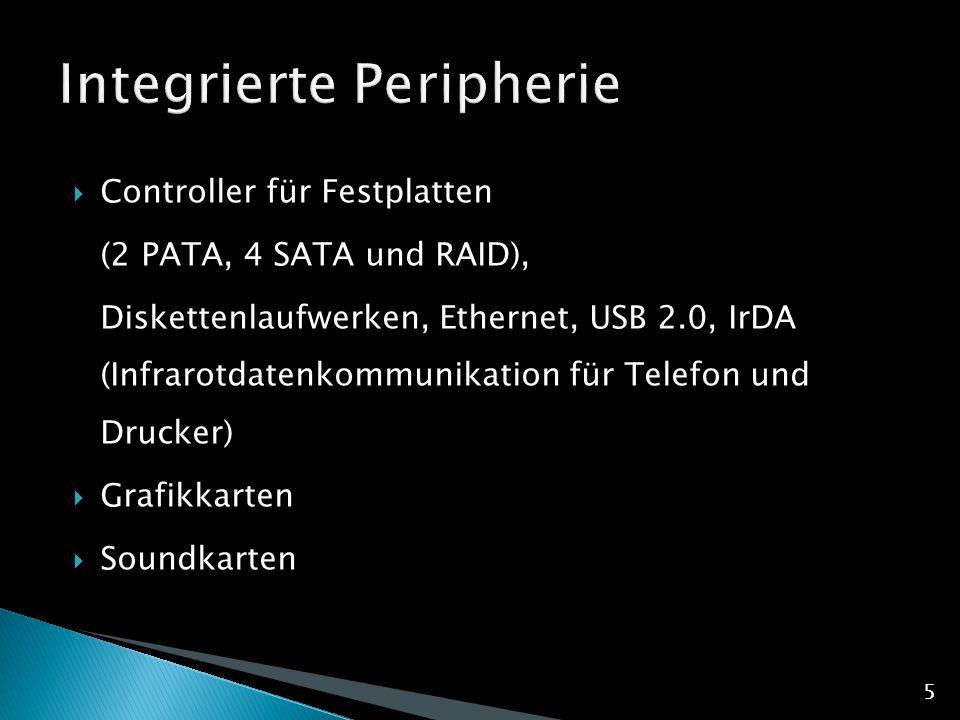  Controller für Festplatten (2 PATA, 4 SATA und RAID), Diskettenlaufwerken, Ethernet, USB 2.0, IrDA (Infrarotdatenkommunikation für Telefon und Drucker)  Grafikkarten  Soundkarten 5