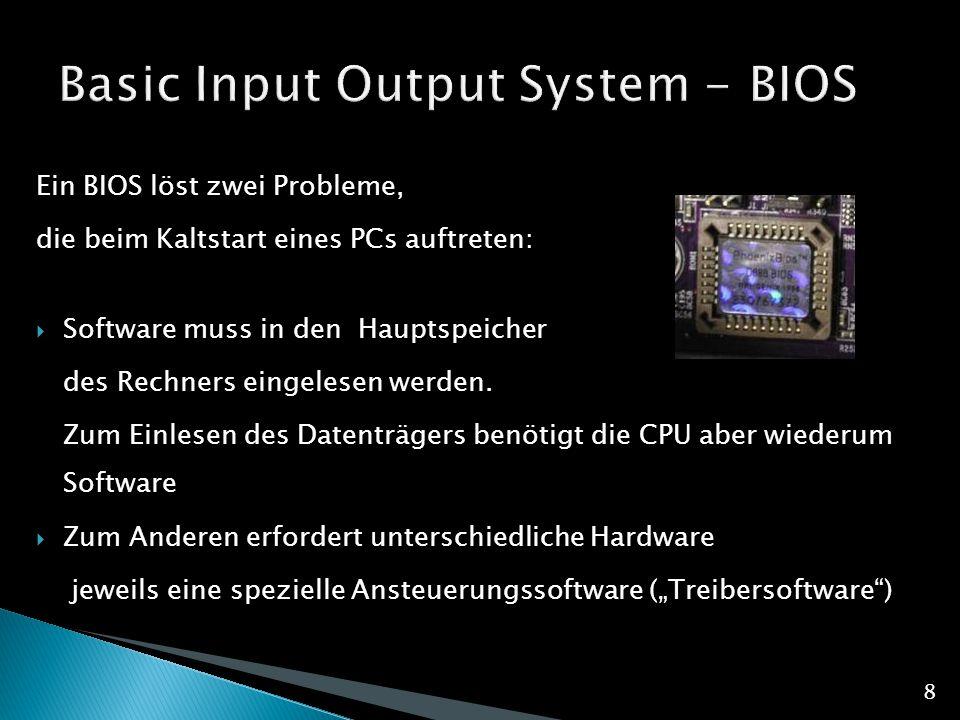 Ein BIOS löst zwei Probleme, die beim Kaltstart eines PCs auftreten:  Software muss in den Hauptspeicher des Rechners eingelesen werden.