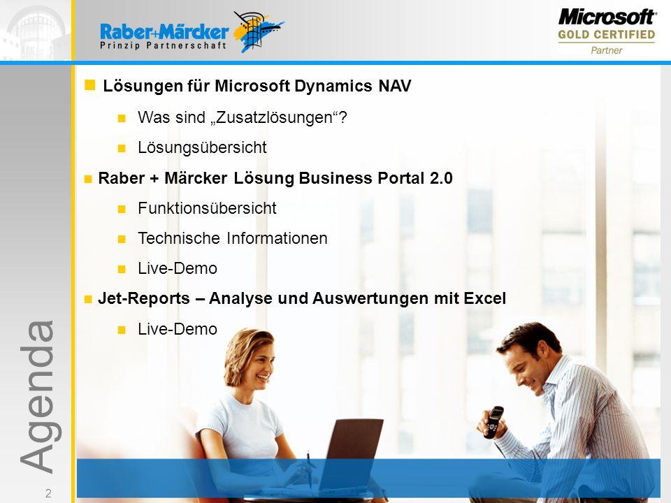 """2 Lösungen für Microsoft Dynamics NAV Was sind """"Zusatzlösungen""""? Lösungsübersicht Raber + Märcker Lösung Business Portal 2.0 Funktionsübersicht Techni"""