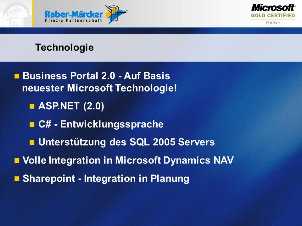 8 Technologie Business Portal 2.0 - Auf Basis neuester Microsoft Technologie! ASP.NET (2.0) C# - Entwicklungssprache Unterstützung des SQL 2005 Server