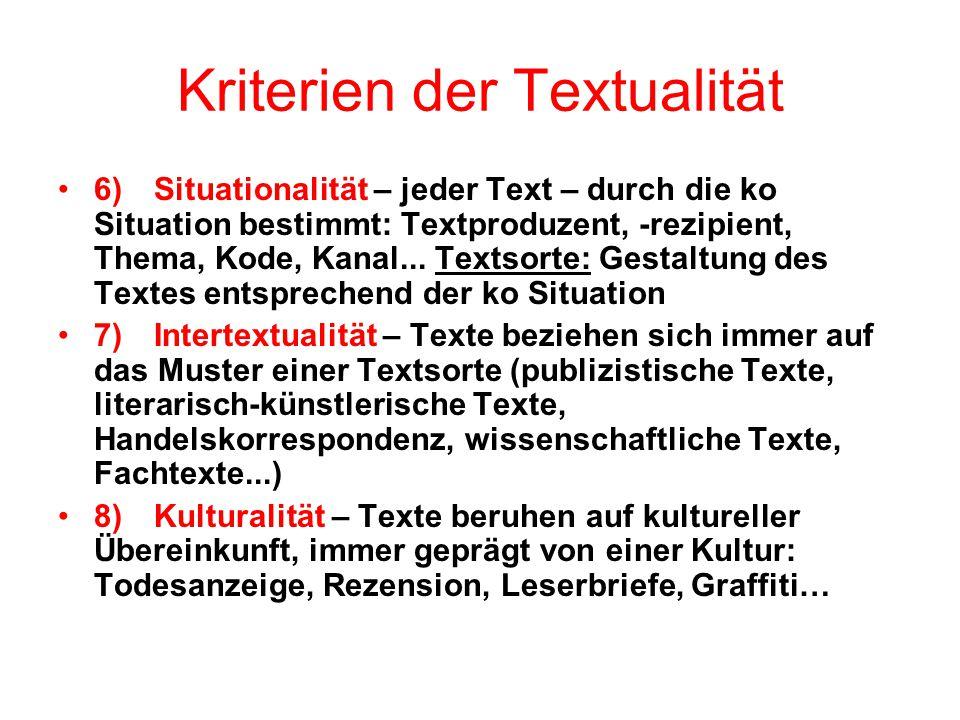 Kriterien der Textualität 6)Situationalität – jeder Text – durch die ko Situation bestimmt: Textproduzent, -rezipient, Thema, Kode, Kanal... Textsorte