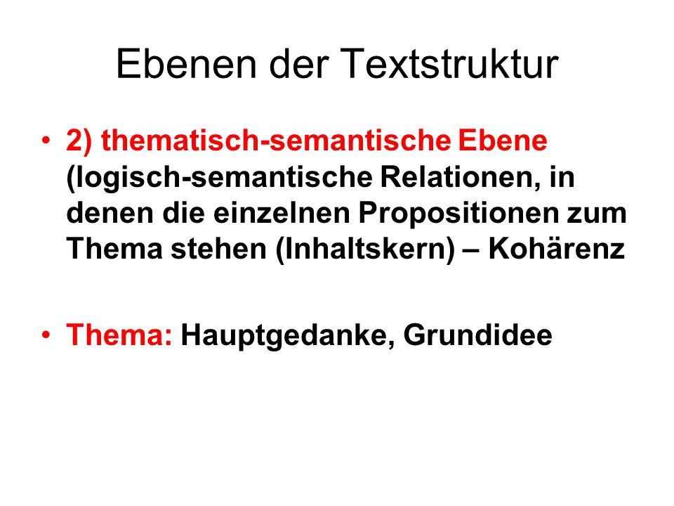 Ebenen der Textstruktur 2) thematisch-semantische Ebene (logisch-semantische Relationen, in denen die einzelnen Propositionen zum Thema stehen (Inhalt