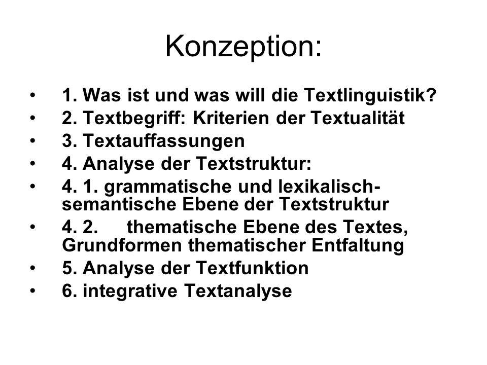 Konzeption: 1. Was ist und was will die Textlinguistik? 2. Textbegriff: Kriterien der Textualität 3. Textauffassungen 4. Analyse der Textstruktur: 4.