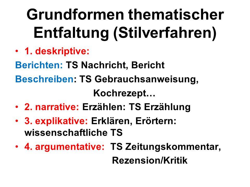 Grundformen thematischer Entfaltung (Stilverfahren) 1. deskriptive: Berichten: TS Nachricht, Bericht Beschreiben: TS Gebrauchsanweisung, Kochrezept… 2