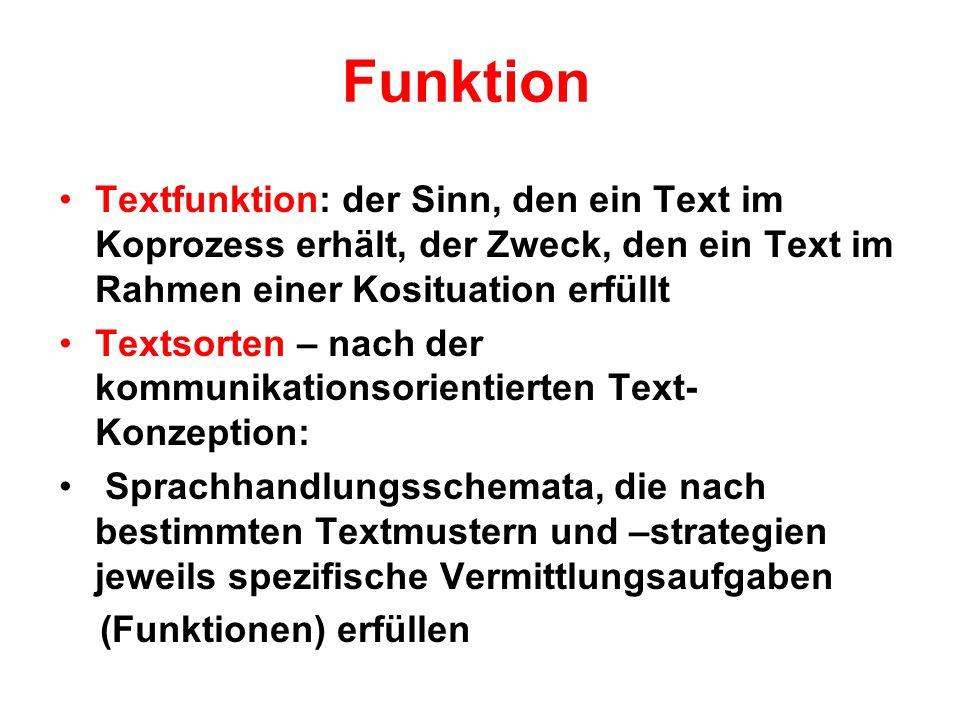 Funktion Textfunktion: der Sinn, den ein Text im Koprozess erhält, der Zweck, den ein Text im Rahmen einer Kosituation erfüllt Textsorten – nach der k