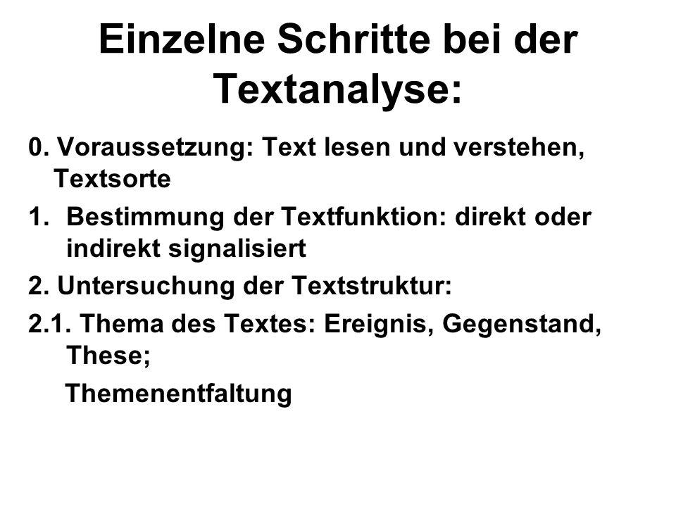 Einzelne Schritte bei der Textanalyse: 0. Voraussetzung: Text lesen und verstehen, Textsorte 1.Bestimmung der Textfunktion: direkt oder indirekt signa