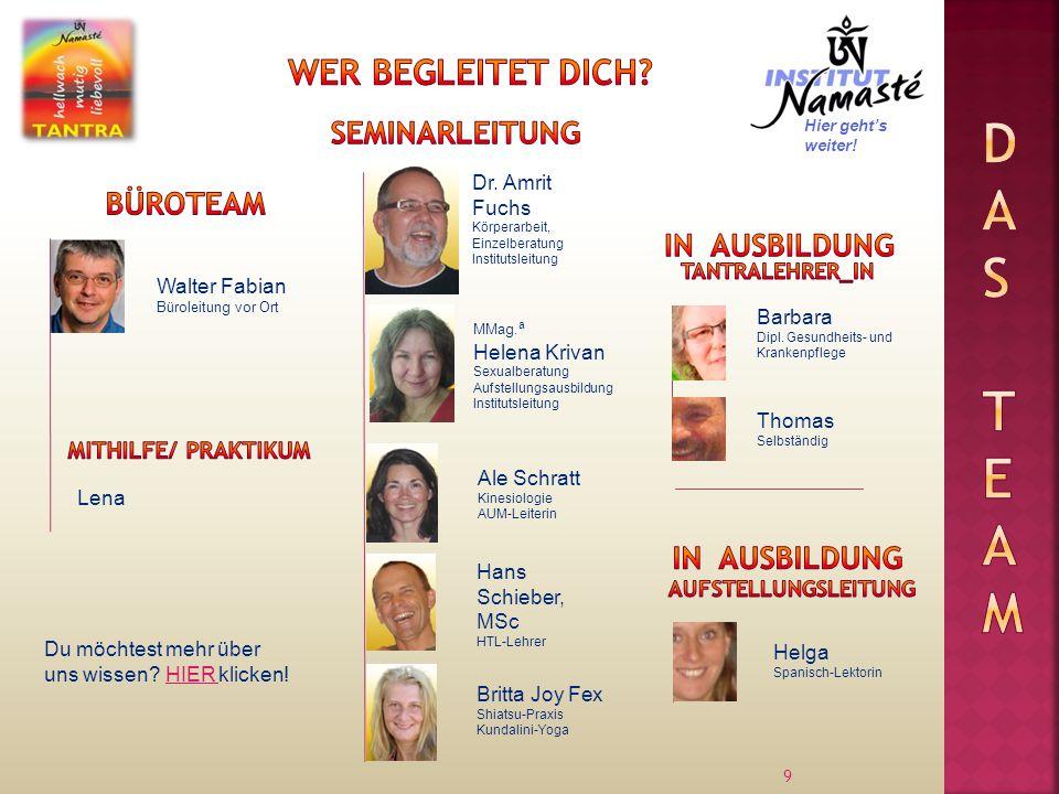 9 Walter Fabian Büroleitung vor Ort Dr. Amrit Fuchs Körperarbeit, Einzelberatung Institutsleitung Lena MMag. a Helena Krivan Sexualberatung Aufstellun