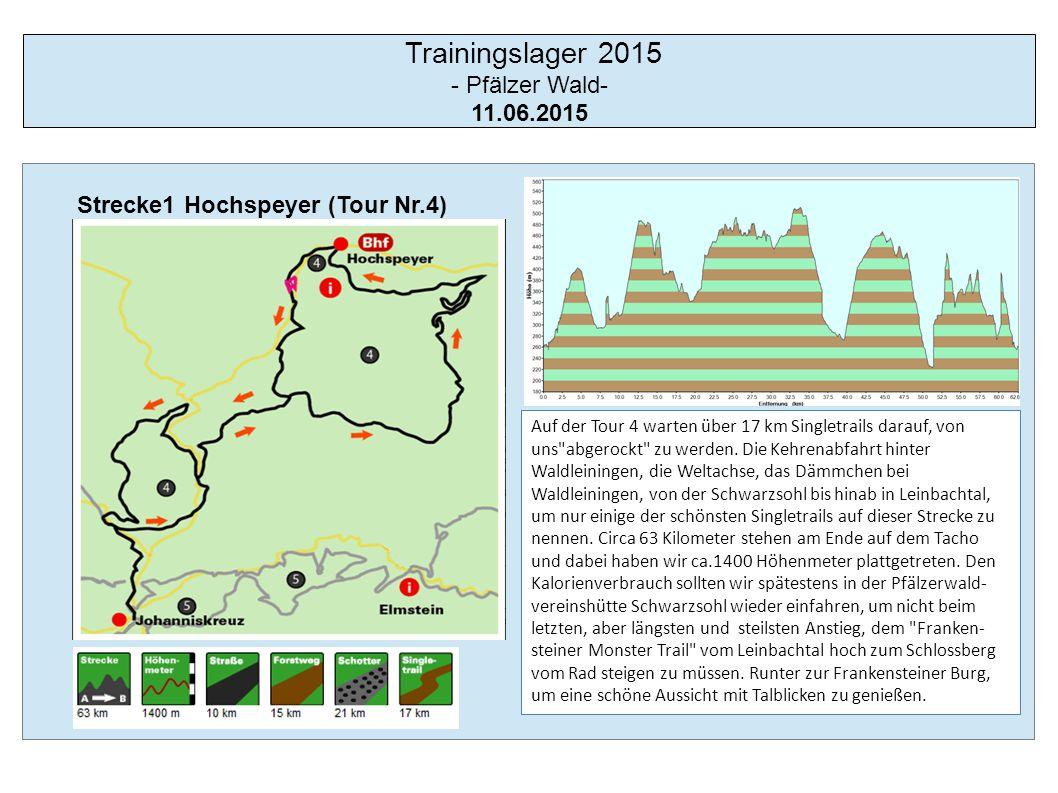 Trainingslager 2015 - Pfälzer Wald- 12.06.2015 Strecke 2 Lambrecht (Tour Nr.5) Big is beautiful - die Tour 5 ist unsere Marathonrunde.