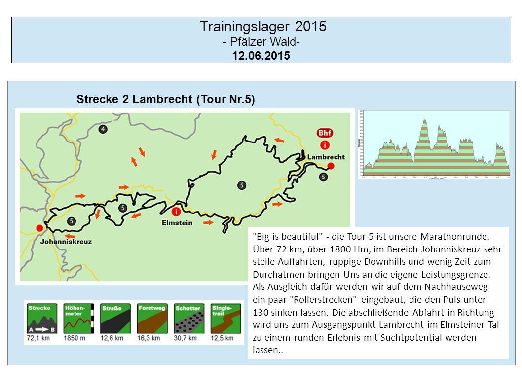 Trainingslager 2015 - Pfälzer Wald- Strecke 3 Schopp Nr.3 13.06.2015 Einsame Singletrails in der ersten, und Anstiege die Körner kosten in der zweiten Tourhälfte, gepaart mit Pisten, die auch mal zum netten Plausch einladen.