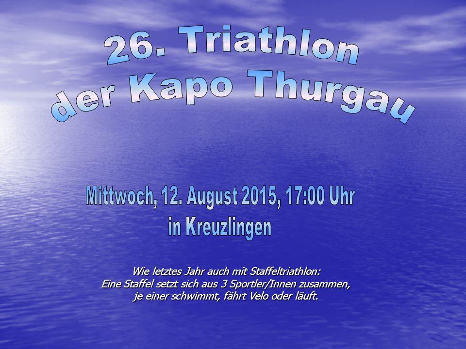 Wie letztes Jahr auch mit Staffeltriathlon: Eine Staffel setzt sich aus 3 Sportler/Innen zusammen, je einer schwimmt, fährt Velo oder läuft.