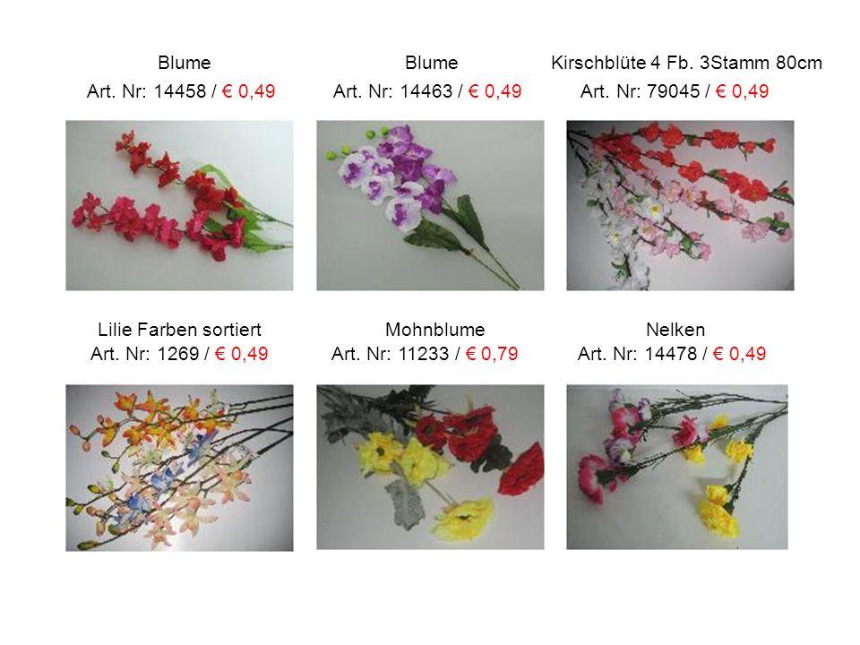 Lilie Farben sortiert Mohnblume Nelken Art. Nr: 1269 / € 0,49 Art. Nr: 11233 / € 0,79 Art. Nr: 14478 / € 0,49 Blume Blume Kirschblüte 4 Fb. 3Stamm 80c