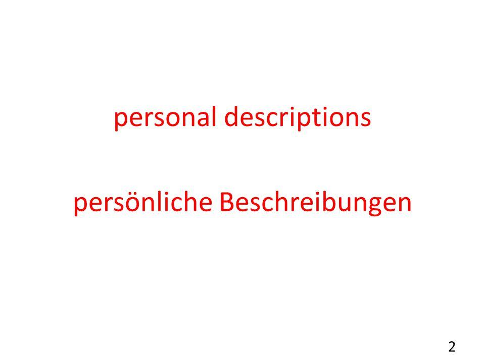 personal descriptions persönliche Beschreibungen 2